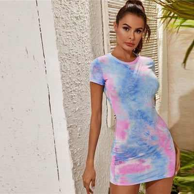 Multi Tie Dye Bodycon Summer Day Mini Dress