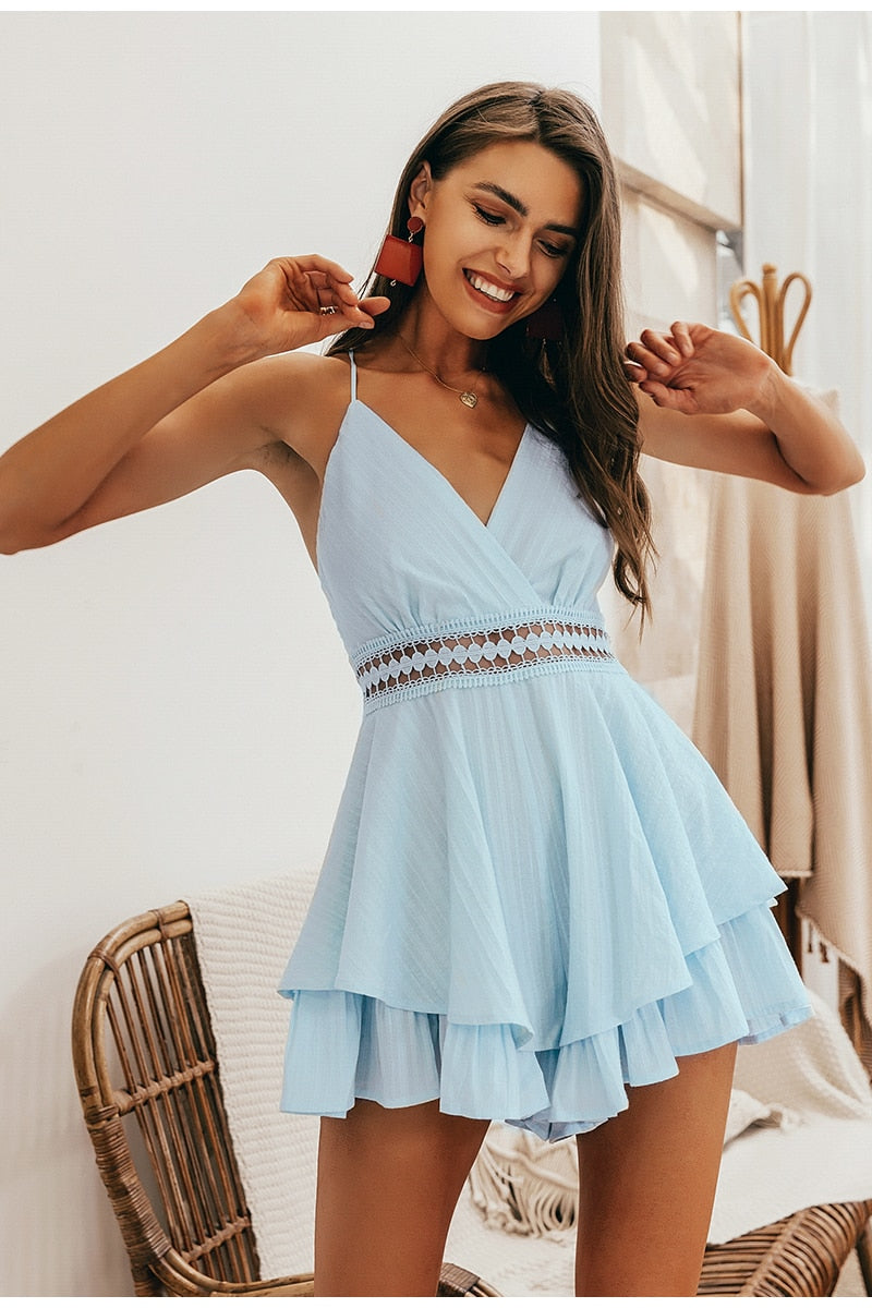 V-neck Hollow Out Waist Spaghetti Strap Romper