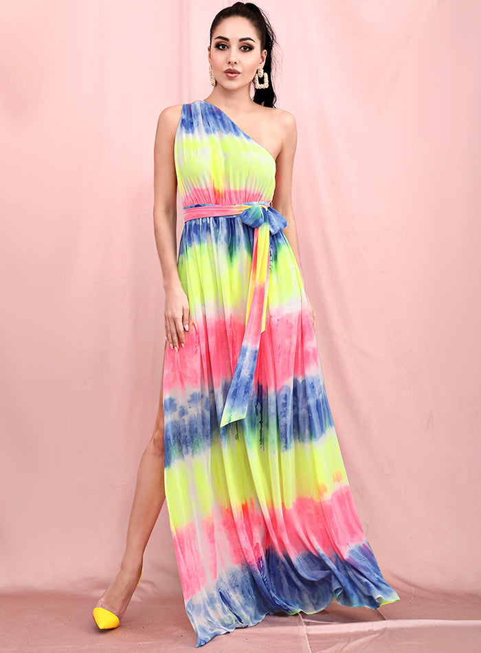 Sloping Shoulders Tie-Dye Chiffon Summer Maxi Dress