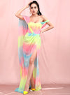 Tube Long Streamer Split Color Tie Dyed Chiffon Prom Maxi Dress