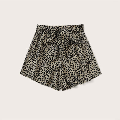 Leopard Allover Print Self Tie Boho Shorts