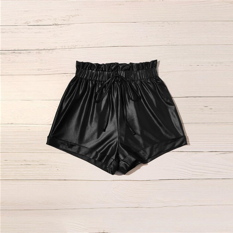 Black Tie Waist Roll Up Hem Leather Shorts