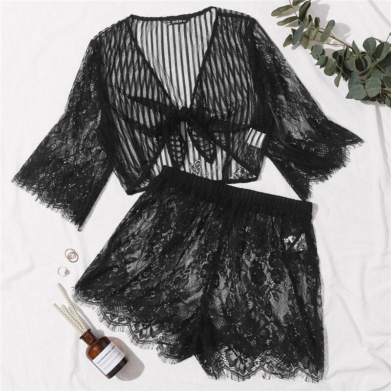Black Tie Front Sheer Lace Crop Top and Shorts Set