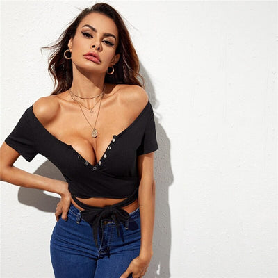 Press Buttoned Cross Wrap Belted Crop Top