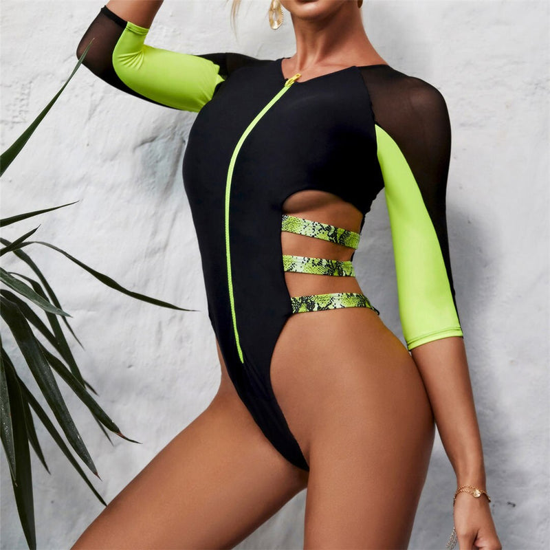 Splicing Zip Long Sleeve Rash Guard Swimsuit