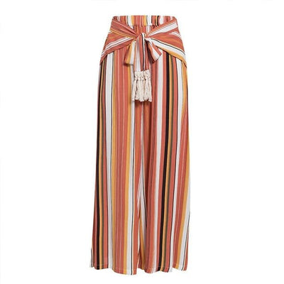 Split Striped Wide Leg High Waist Trousers
