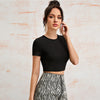 Black Lace Up Back Slim Crop Top