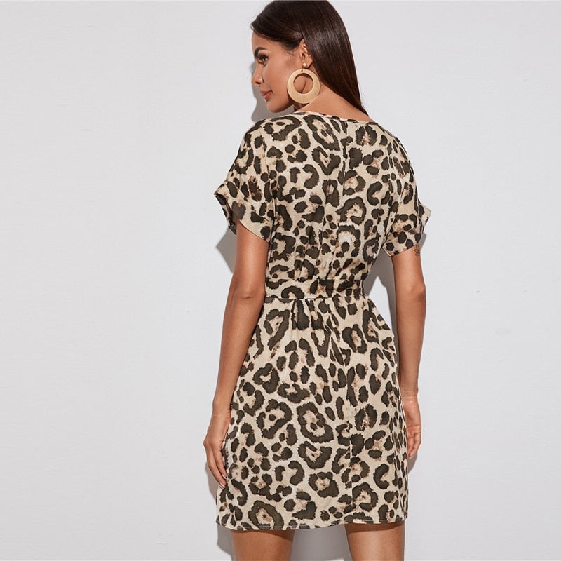 V-neck Belted Leopard Tunic Day Mini Dress