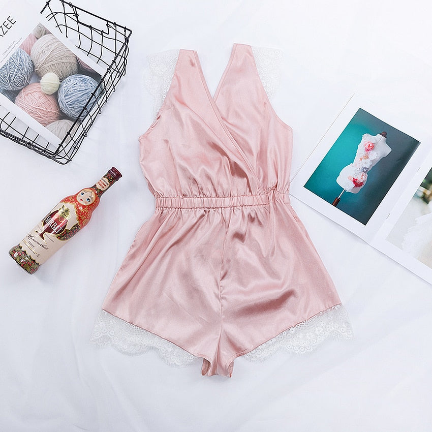 Pink Sleeveless Lace Satin Playsuits Pajamas