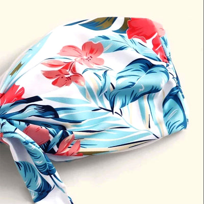 Off shoulder Trimming Printed Knot Bikini