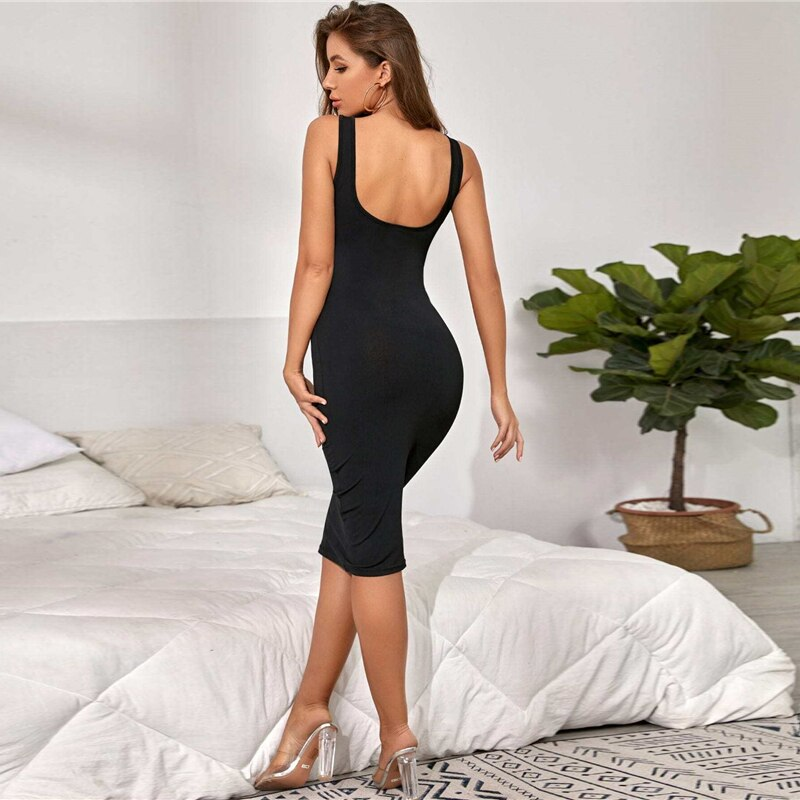 Black Open Back Thick Strap Bodycon Midi Dress