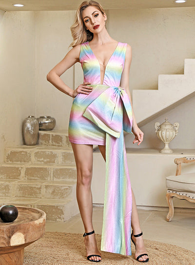 Big Bow And Streamers Colorful Reflective Mini Party Dress