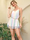 Open Back Rainbow Mesh Metal Chain Party Mini Dress