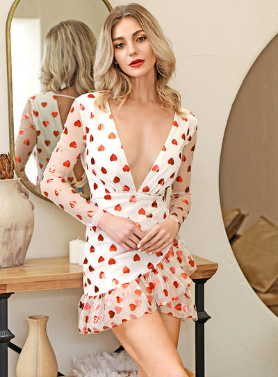 Deep V-Neck Open Back Love Print Mesh Mini Dress