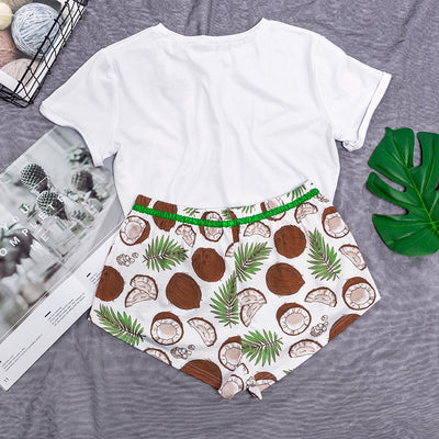 Coconut Print O Neck Lace Up Nightwear Sets