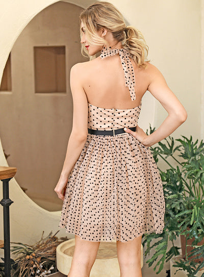 Pink Dot Open Back Fluffy Going Out Mini Dress