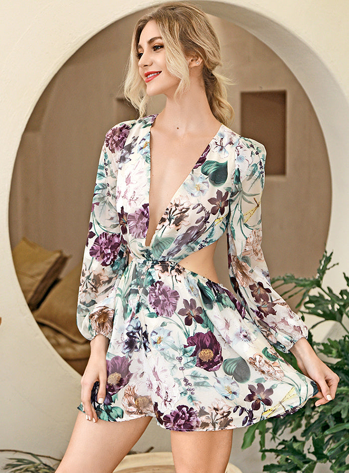 Deep V-Neck Open Back Flower Party Mini Dress
