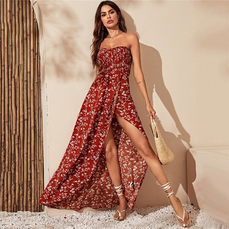 Red Shirred Floral Off Shoulder Boho Maxi Dress