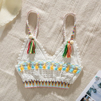 Tassel Colorful Crochet Bikini Top