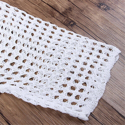 White Hollow-Out Crochet Knitted Cover Up