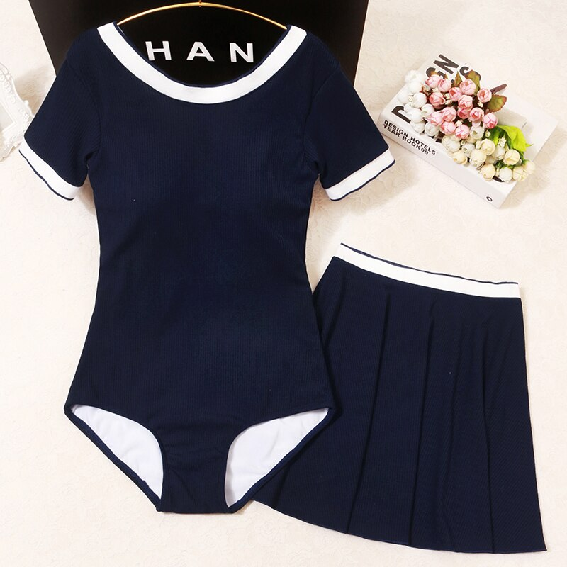 Navy Blue Sports Swimwear With Skirt