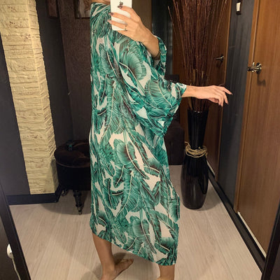 Leaves Printed Beach Chiffon Cover Up