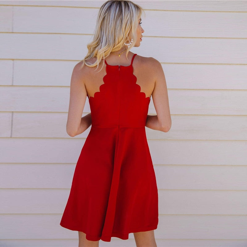 Red Scallop Trim Going Out Skater Mini Dress