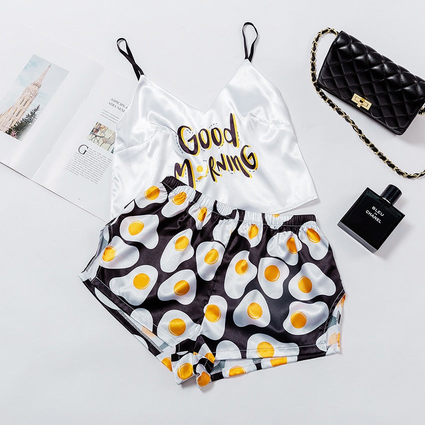 Good Morning Egg Print Pajama Sets