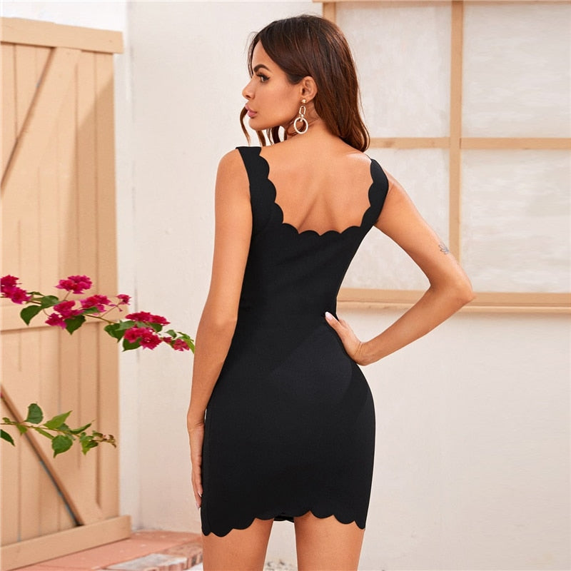 Black Scallop Trim Bodycon Going Out Mini Dress