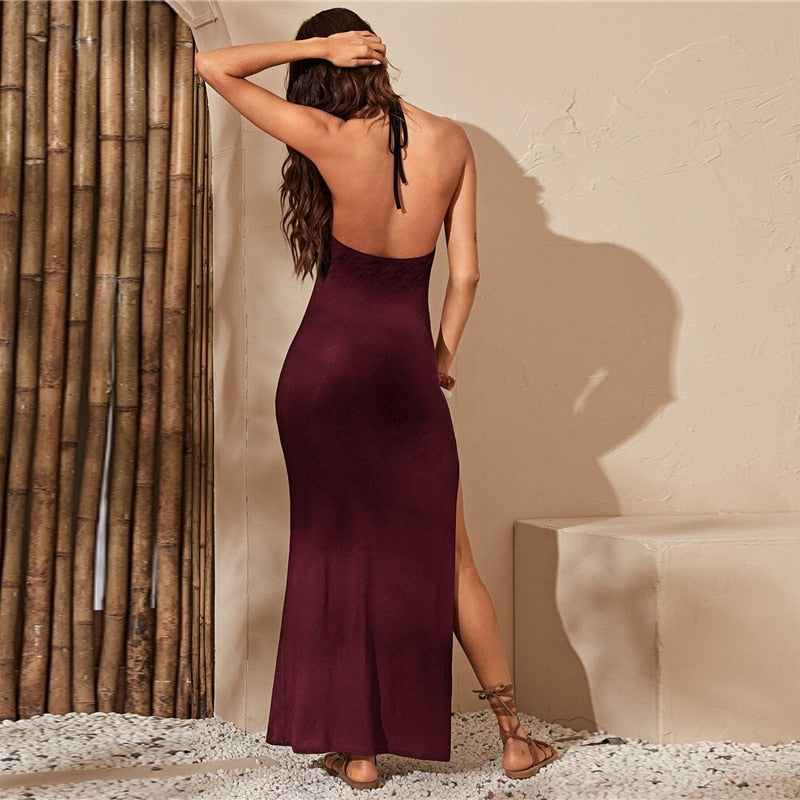 Black Open Back High Split Bodycon Boho Maxi Dress