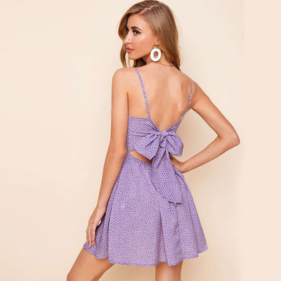 Cutout Tie Back Floral Summer Boho Flared Mini Dress