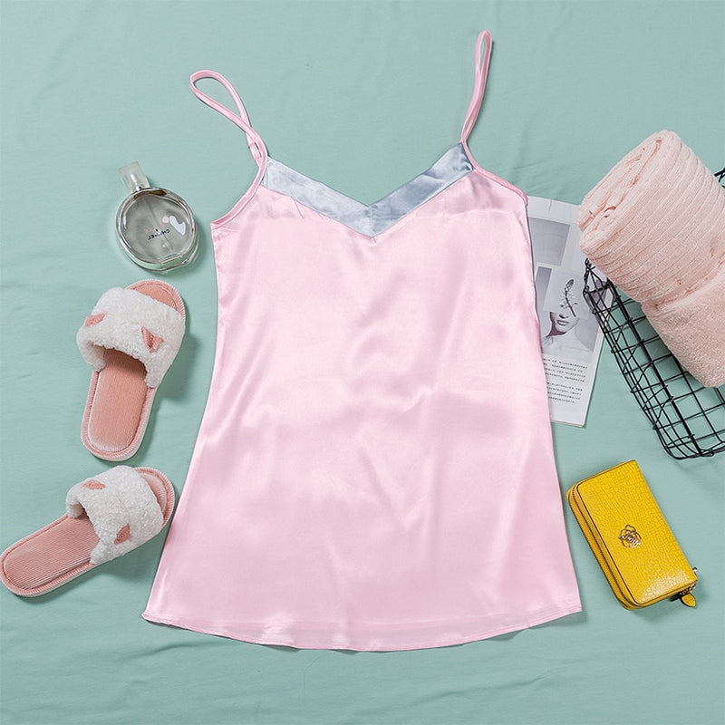 Splicing Sleeveless V Neck Mini Nightwear