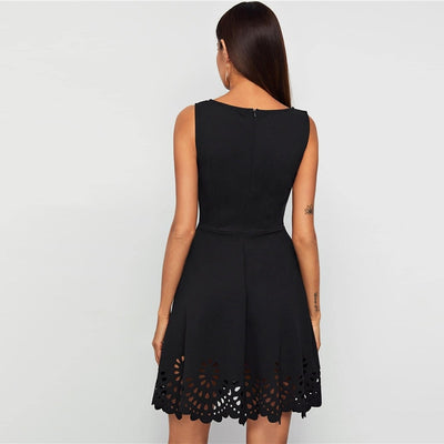 Black Laser Cut Scallop Hem Sweetheart Neck Skater Mini Dress