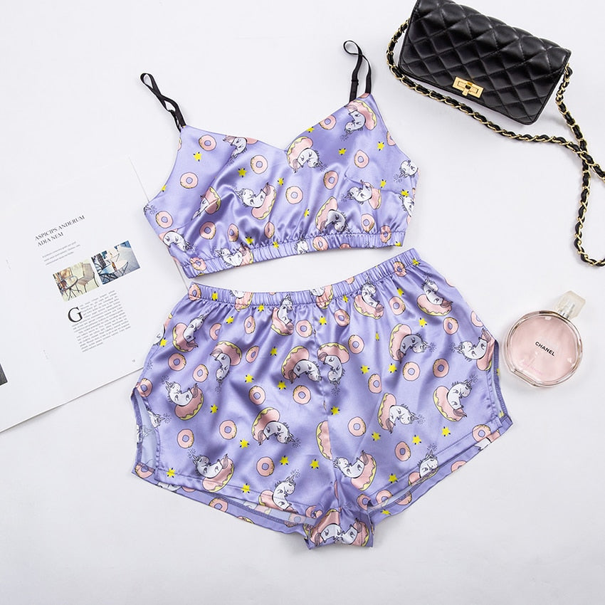 Unicorn Lovely Satin Pajamas Set