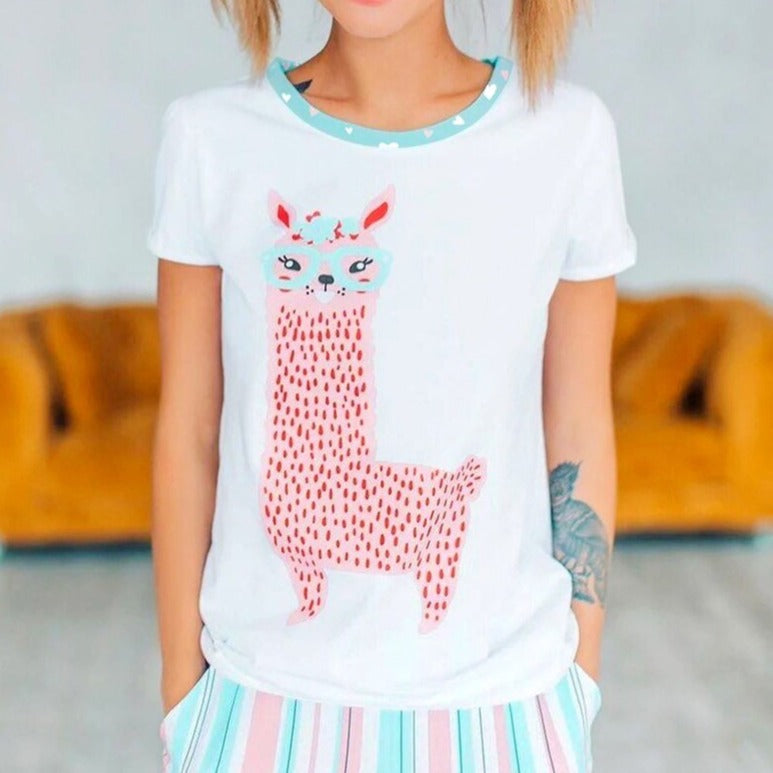 Alpaca Cartoon Pattern Pajamas With Shorts