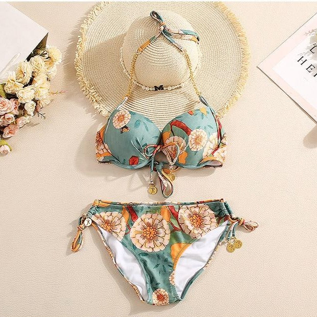 Floral Print Bikini With Beach Dress