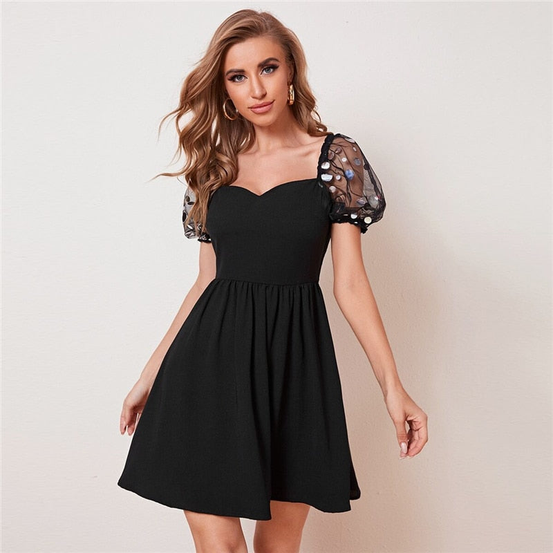 Black Sequin Mesh Puff Sleeve Skater Mini Dress