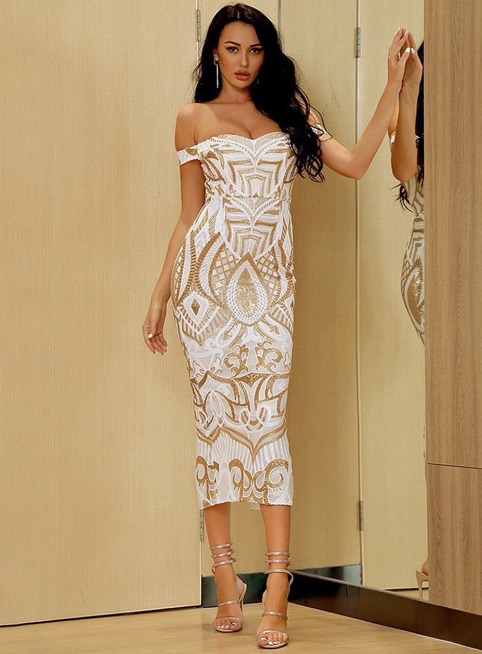 White Geometric Figures Sequin Bodycon Prom Midi Dress