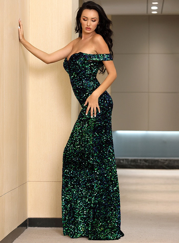 Tube Top Green Velvet Sequins Bodycon V-Neck Prom Maxi Dress