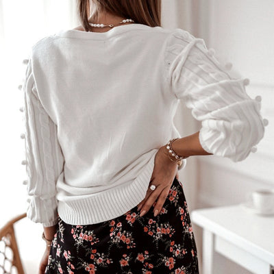 V-neck Solid White Long Sleeve Sweater Cardigan