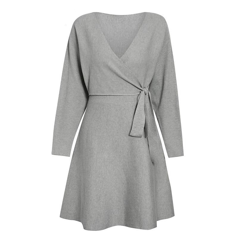 V-neck Knitted Elegant Solid Wrap Sweater Mini Dress