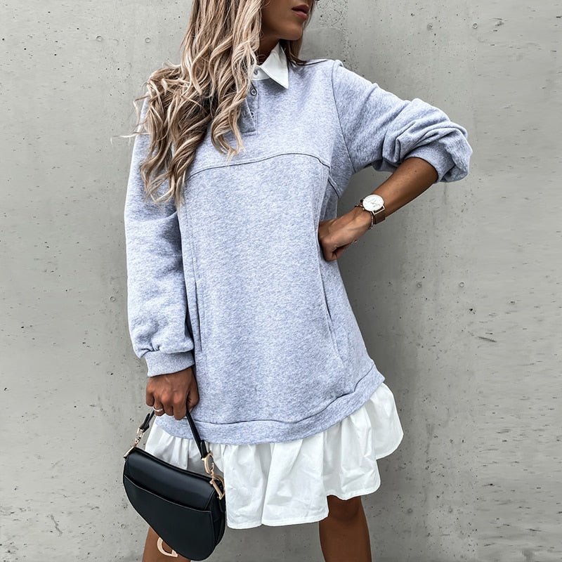 Casual Ruffle Long Sleeve Loose Straight Knit Mini Dress
