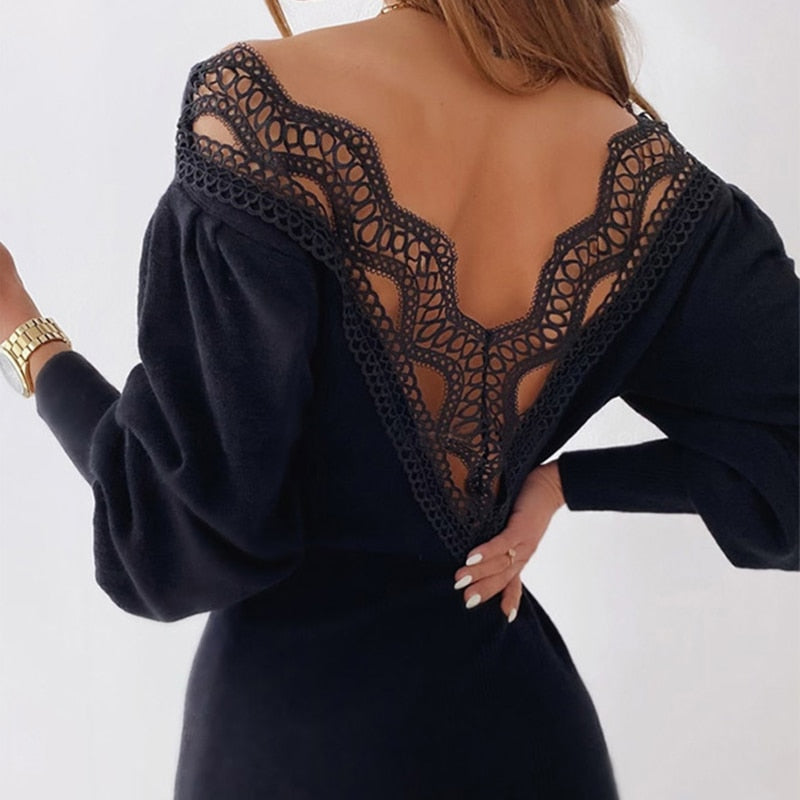 V-neck Patchwork Lace Lantern Sleeve Knit Midi Dress