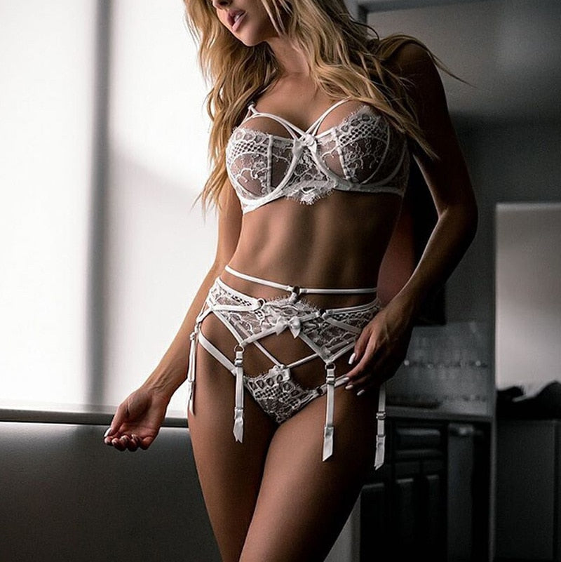 White Sexy Lace Push Up Bralette 3 Piece Lingerie Set