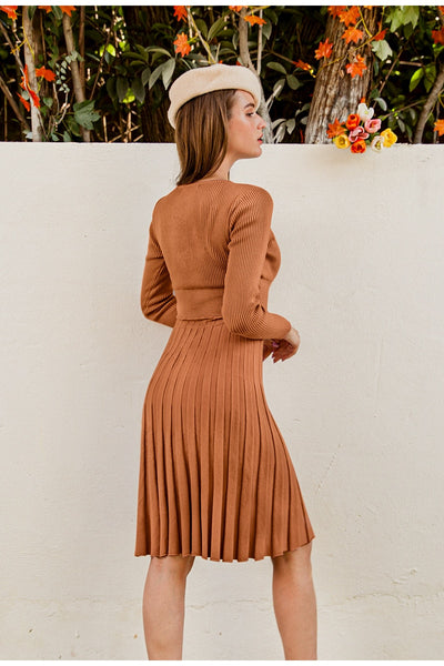 Elegant Sweater V-neck Pleated Knitted Midi Dress