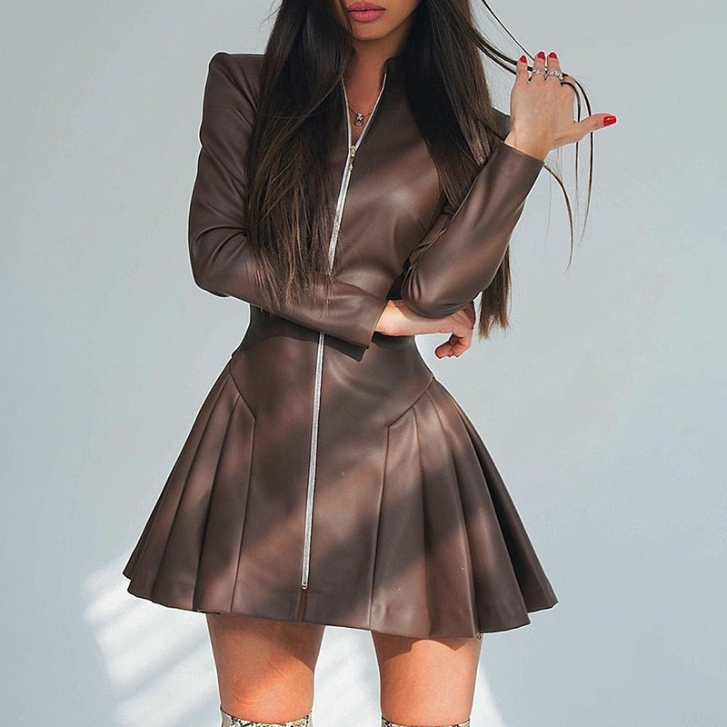 Brown High Collar Zipper Going Out Mini Dress