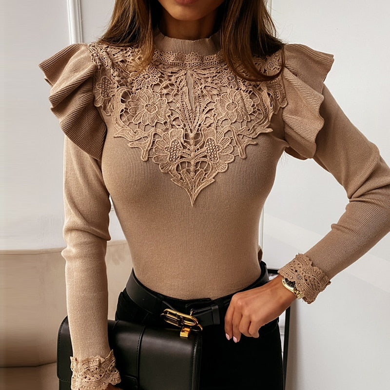 Ruffle Khaki Flower Slim Lace Sweater