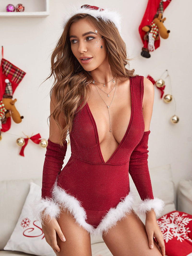 Christmas Sexy Deep-V Neck Bodysuit 4 Piece Set