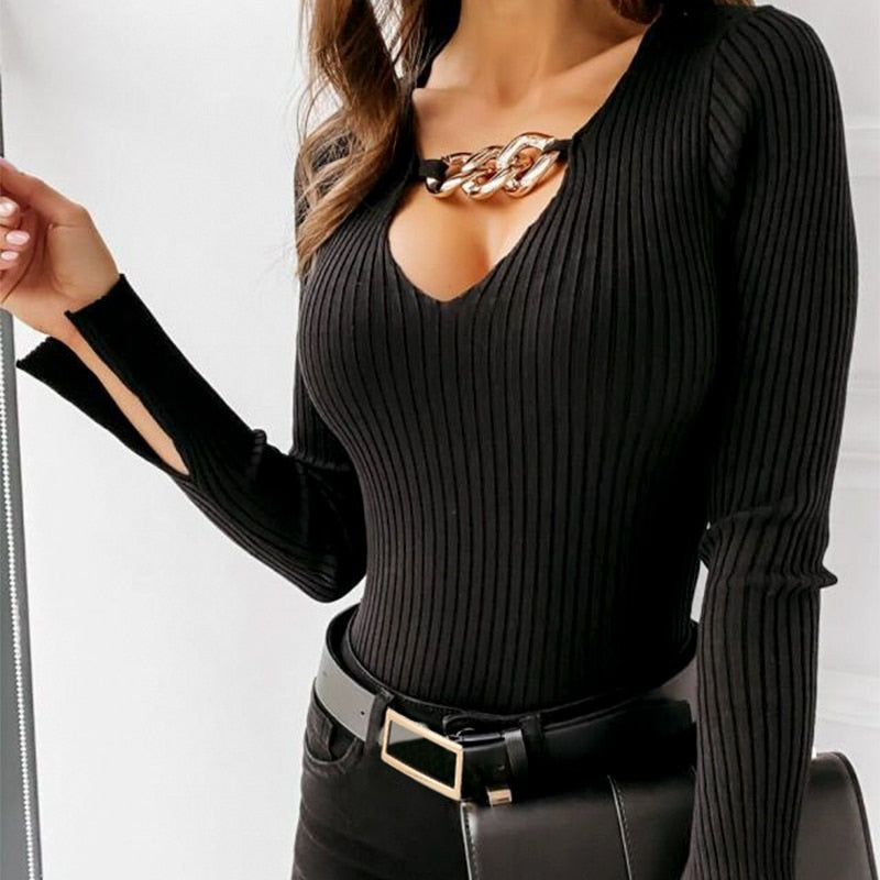 V-neck Striped Slim Basic Pullover