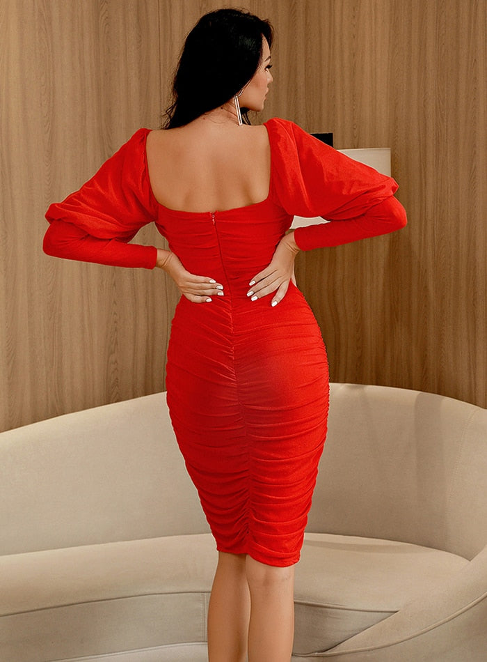 Red Lapel Puff Long Sleeve Bodycon Mesh Going Out Midi Dress